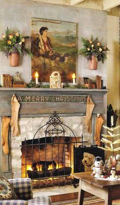 Christmas Mantels - Christmas Decorating - holiday, vintage books, fireplace mantels, french country, fireplace screens, country christmas, mantel decorations, christmas mantles, christmas mantels