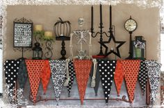 mantel scarf for Halloween decorating