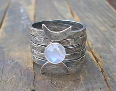 Triple Moon Goddess Stacking Rings by StarNative on Etsy, $85.00