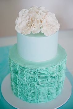 Pretty Pale Turquoise Frilled Beach Wedding Cake