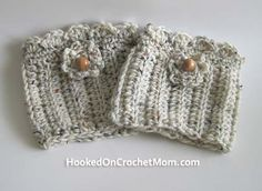 Boot Cuff with Beads Crochet - Light Cream Multicolor Boot Topper