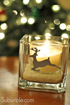Use Adhesive Cardstock to create sweet gifts like this deer silhouette candleholder -  Suburble.com - #candle #gifts #hostess #deer #silhouette #cameo #DIY #present