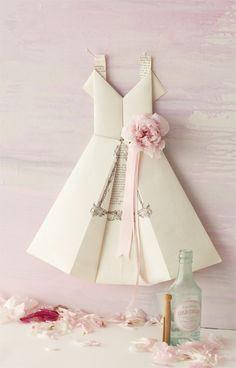 business cards, paper craft, dress tutorials, origami dress, origami paper