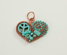 Peace Sign Pendant, Copper Wire Jewelry, Turquoise Heart by Whitecloverstudios for $32.00 #zibbet