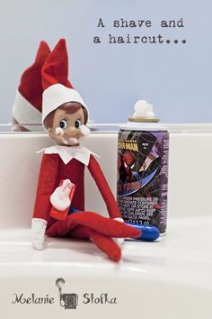 Elf on the Shelf playing with the shaving cream....