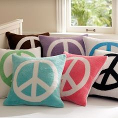 peac sign, pillow talk, peace signs, daughters room, pink rooms, girl bedrooms, pillow covers, peac pillow, girl rooms