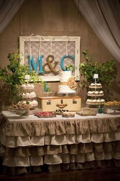 dessert tables, cupcake stands, tabl skirt, tablecloth, ruffl, letter, picture frames, cake tables, table skirts
