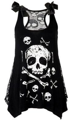 Jawbreaker Skull & Crossbones Lace Back Vest   Gothic Clothing   Emo clothing   Alternative clothing   Punk clothing - Chaotic Clothing