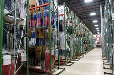 Majestic's MLB jersey warehouse. All of Majestic's authentic MLB on-field jerseys are produced in the USA, in Easton, PA.