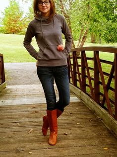 hoodie and boots.