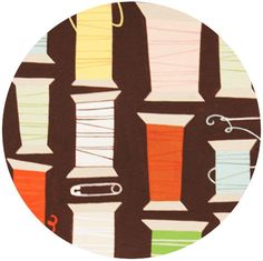 Alexander Henry, Cool Spool Chocolate maybe a pin cushion? or a thread bag?