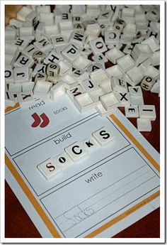 letter tiles, read, build and write