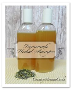 Homemade Herbal Shampoo  @CountryMommaCooks / I do not use Castile or glycerin, I use organic shampoo, then add the other ingredients.