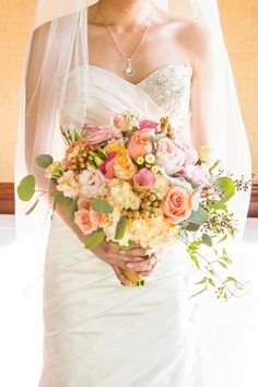 Romantic Tropical Inspired Peach Bridal Bouquet for a Wedding by the Sea   D. Park Photography  