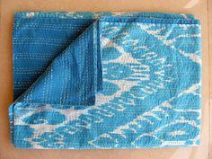 Light Blue Quilt Queen Bedspread Cotton Blanket by LiveLoveLounge, $105.00