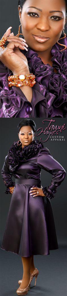 Tawni Haynes Custom-Made Endless Ruffle Dress, and Tawni Haynes OMG Custom Accessories. tawnihaynes.com