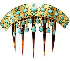 Turquoise Hair Comb circa 1890, Victorian period from France