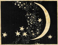 Moon and Stars Art Print - Elegant Paper Cut - Night Sky - Black and White Sepia - Natural History Illustration - Outer Space Art