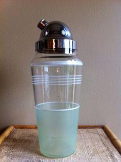Vintage cocktail shaker mint green martini
