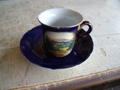 Vintage 1900s Demitasse Cup Saucer Espresso Blue Transferware Dresden Marked Wheelock