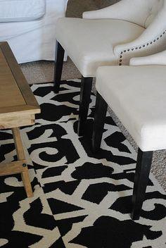great alternative to area rugs!   via Shabby Nest blue rooms, carpet tiles, living rooms, shabbi nest, area rugs, room area, flor carpet, blues, black