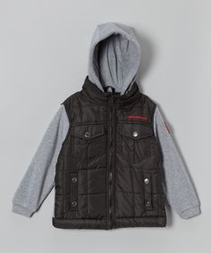 Another great find on #zulily! Black & Heather Quilted Hoodie - Boys by Weatherproof #zulilyfinds