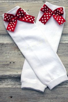 Valentines Day Leg Warmers Polka Dot Bows by HottieTottieGirl, $10.00