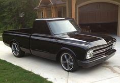 Chevy black C10 truck...