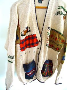 Ugly Sweater Party  Christmas Cardigan button by GnarlyNutmeggers, $16.00
