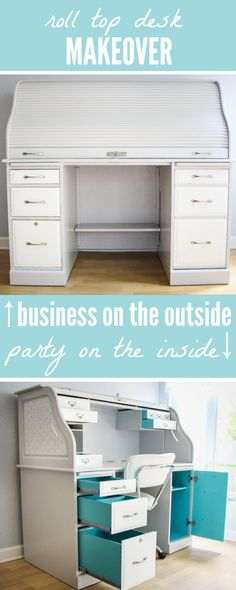 Roll-Top Desk Makeover!  Business on the outside, party on the inside.  I love how bright and beachy this color palette is!  Bound to inspire...especially when opening up a drawer to see the pop of turquoise!