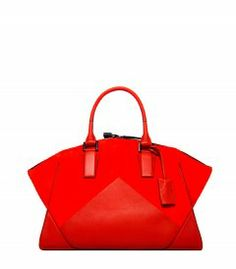 Cayenne Suede & Leather Geometric Zip Tote