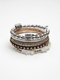 Stone Cluster Hard Bangle #freepeople #prom #jewelry #rustic