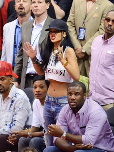 Rihanna at a Basketball Game in Los Angeles