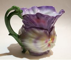 Antique Royal Bayreuth Pansy Creamer Bavaria Blue Mark