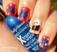 4th of July Red, Blue & White + Eagle Na by madjennsy from Nail Art Gallery