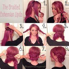 bohemian updo, hair tutorials, hair colors, bridesmaid hair, braid, long hair, hairstyle ideas, bohemian look, bohemian hair