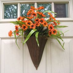 Orange Sunflower Wreath for Front Door Decor, Orange Wreath, Spring Wreath, Summer Wreath Alternative. $55.00, via Etsy.
