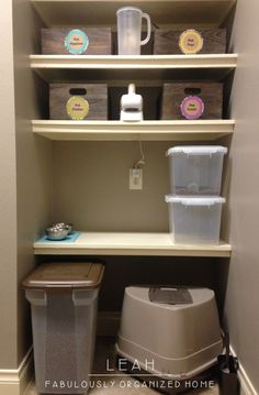 Organizing pet supplies (and keeping the dogs out of the litter box!) From Fabulously Organized Home.