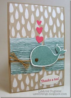 "Looking for a way to use that whale stamp? Here you go!  ""Thanks a ton"" is a great message for a handmade thank you card."