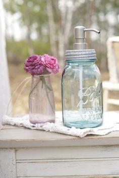 Quart Mason Jar Soap Dispenser. Want to do this.