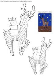 View Reindeer with Presents Iris Folding Pattern Details