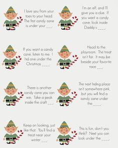 East Coast Mommy: Elf on the Shelf - Candy Cane Scavenger Hunt... free printable clues