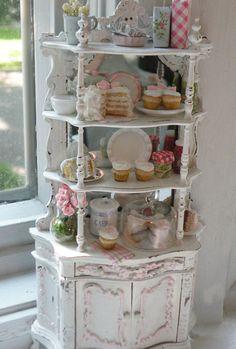 shabby chic cottages | Miniature Bakery Shabby Chic Etagere by CynthiasCottageShop