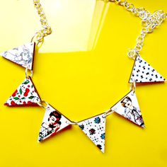 50s girls and vintage print bunting necklace made by Fluffington