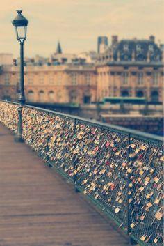 Love locks on Pont de l'Archevêché, Paris, France