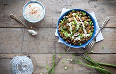 spicy-quinoa-asparagus-bowl-with-sour-cream-recipe sour cream, black beans, food, asparagus bowl, vegetarian, recip websit, cream recip, spici quinoa, bowls