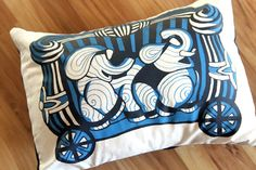 Elephant Pillow Cover  Nursery Decor by ToddAh on Etsy, $35.00