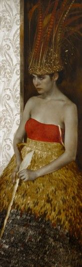 The Red Crown Oil, gold and silver leaf on wood.  22 x 64 inches painting by Brad Kunkle