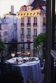 HOTEL LE RELAIS Saint Germain • Paris, FRANCE • Room service on the balcony. So French. So romantic. • 01–44–27–07–50 • www.hotel-paris-relais-saint-germain.com/flash/us/index.html  via Betty Kottkamp