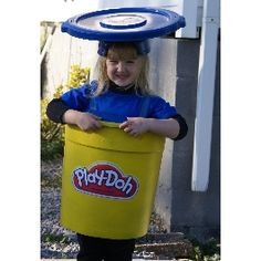 Did this with a cloth laundry bag instead of a trashcan, much more flexible -- Playdoh Halloween Costume